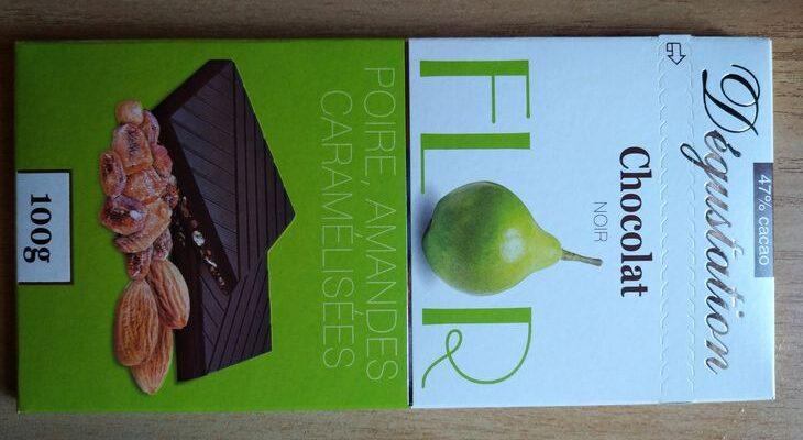 Flor Degustation - тёмный шоколад с грушей и миндалём в карамели, Франция
